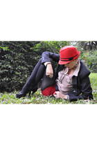 red El Sombreo hat - charcoal gray denim Zara blazer - light pink Zara shirt - r