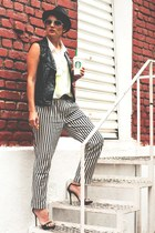 black Pralana hat - white stripes Zara pants - black Zara vest