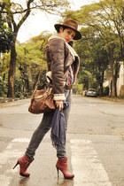 maroon c&a boots - charcoal gray Forum jeans - dark brown El sombrero hat - dark