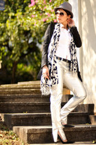black Bershka blazer - white Zara shirt - black luigi bertolli cardigan