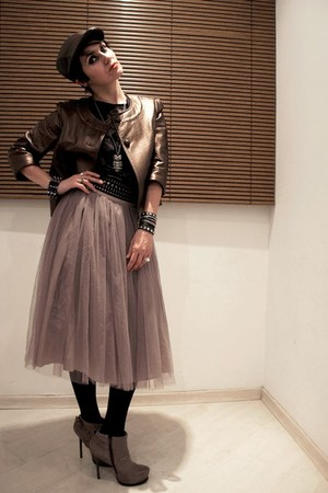 heather gray tulle KWI skirt - heather gray Via Uno boots