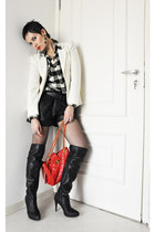 black Via Marte boots - ivory Gregory blazer - black checkered Renner shirt - iv