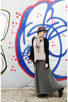black jumble store boots - heather gray Zara dress - dark brown Mizu hat - tan Z