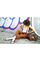 burnt orange Zara pants - dark brown Cury hat - white Hering shirt