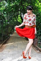 red Zara skirt - peach floral print Vintage store shirt - brick red c&a purse