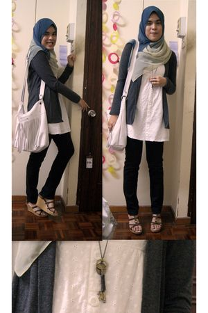 white Zara dress - white Esprit bag - black Topshop pants