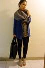 Blue-cardigan-black-dress-beige-shoes-black-marc-by-marc-jacobs-bag-gray