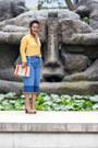Yellow-parfois-bag-blue-mango-pants-gold-new-look-blouse
