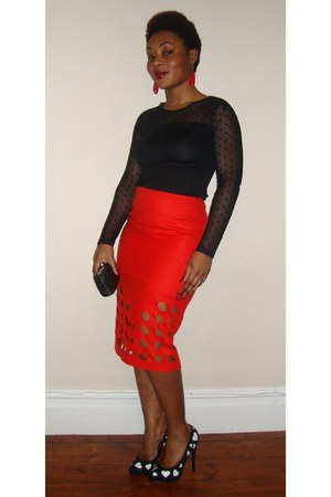 red pencil skirt asoscom skirt - black polka dot MRP top