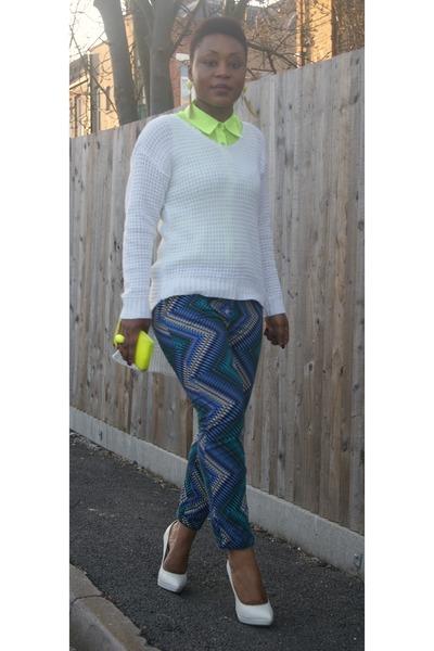 white stilettos asos heels - lime green peplum Boohoocom shirt