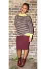 Brick-red-vintage-jumper-crimson-carvela-boots-mustard-new-look-shirt