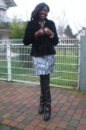 black boots - heather gray H&M dress - black fake fur H&M coat