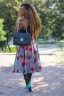 Turquoise-blue-primark-shoes-black-chanel-bag-black-primark-top
