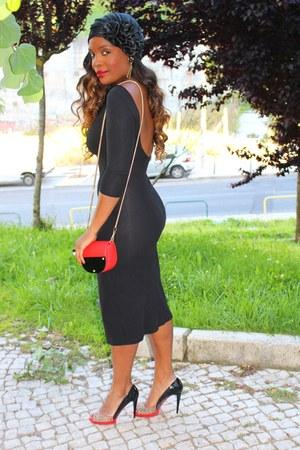 black Mango dress - red Parfois bag