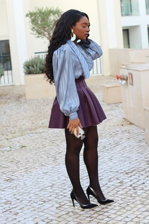 heather gray vintage blouse - puce H&M skirt - black Mango pumps