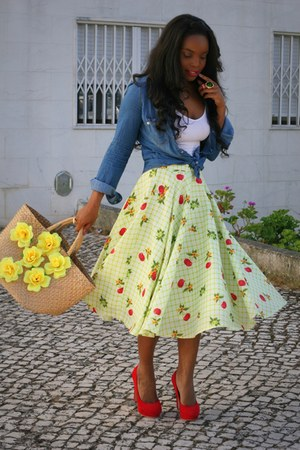 lime green handmade skirt - blue Stradivarius shirt - ruby red Primark heels