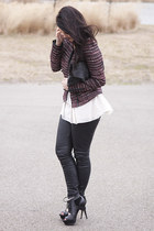 tweed Zara jacket - black leather asos bag - chiffon H&M top - Topshop pants - b
