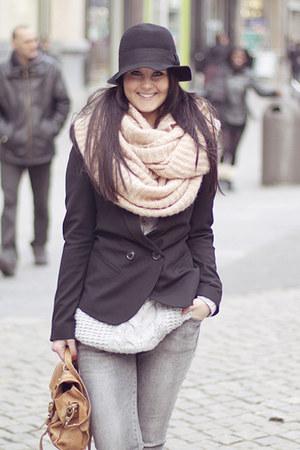 Zara jeans - H&M hat - Only sweater - asos blazer - H&M scarf - Topshop bag