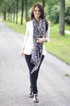 Zara blazer - Zara cardigan - H&M scarf - Only jeans - Dorothy Perkins shoes