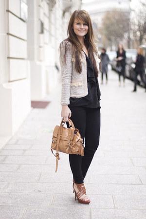romwe jacket - Bershka jeans - Topshop bag - Zara heels - asos blouse