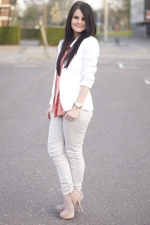 Zara Trf jeans - asos blazer - Topshop top - Steve Madden heels