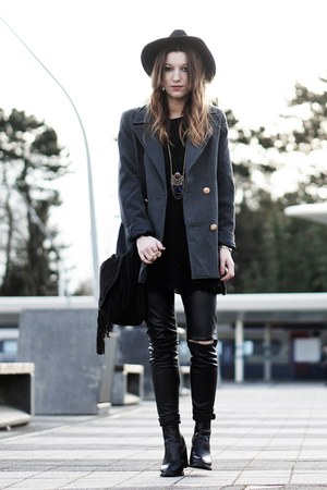 gray double breasted coat - black faux leather pants