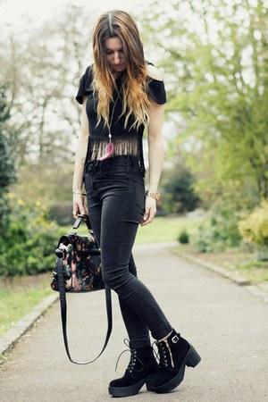 black BangGood boots - floral print Martofchina bag - black fringe xfemmex top