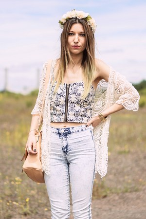 zipper top - beige lace  crochet cardigan