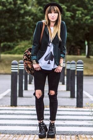 blazer - black boots - black jeans - bag