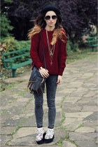 jumper - boots - jeans - bag