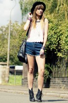 light pink top - black Primark boots - navy shorts