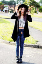 black cut out boots - blue new look jeans - black round hat