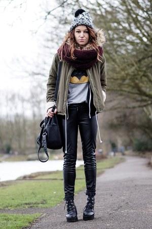 black pu leather pants