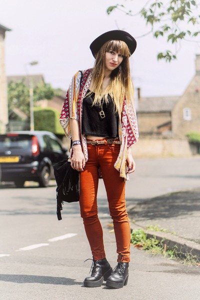 burnt orange pants - cardigan