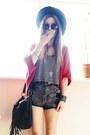 Black-hat-black-nowistyle-bag-gray-denim-shorts-nowistyle-shorts
