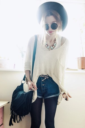 beige sweater - necklace