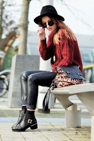 black pu  studded boots