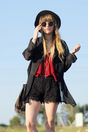 black chiffon  black blazer - black crochet shorts - top