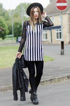 black boots - black hat - striped  mesh top