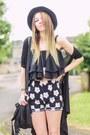 Black-h-m-hat-black-flowers-shorts-black-top