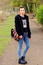 black Sheinside coat - blue Primark jeans