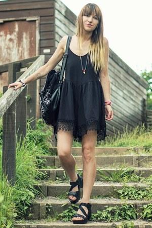 black sandals - black romper