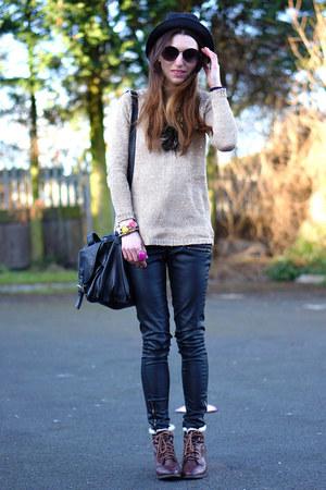 Primark hat - Sheinsidecom sweater - H&M bag - Primark pants