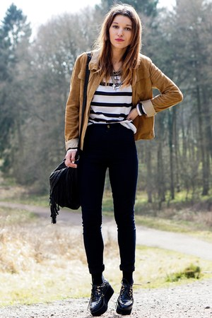 black high waisted jeans - suede Mango jacket - stripes Primark top