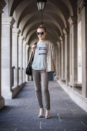 top - gold Primark shoes - tan Zara jacket - black H&M sunglasses