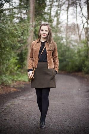 brown suede jacket Mango jacket - black leather Zara shoes - Gucci bag