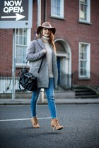 silver coat - brown suede Stradivarius boots - blue River Island jeans