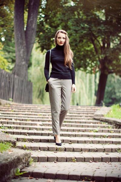 black shoes - black Zara bag - H&M pants - black asos top