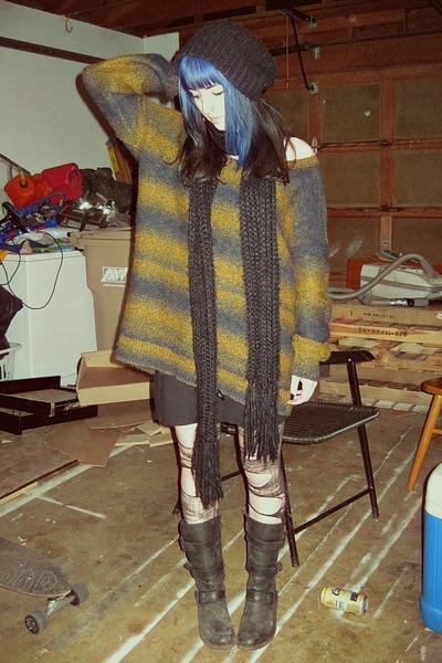 sweater - biker boots doc martens boots - American Apparel skirt