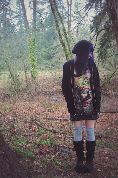 black fir Demonia boots - dark gray mini dress Drop Dead dress